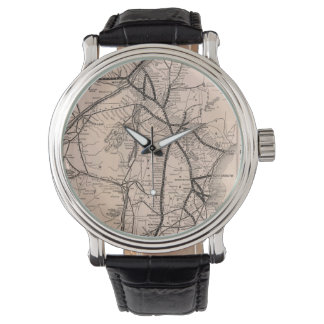 Vintage Boston and Montreal Railroad Map (1887) Wrist Watches