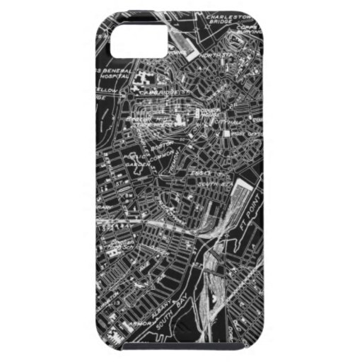 Vintage Boston Black and White Map iPhone 5 Cover
