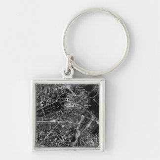 Vintage Boston Black and White Map Keychain
