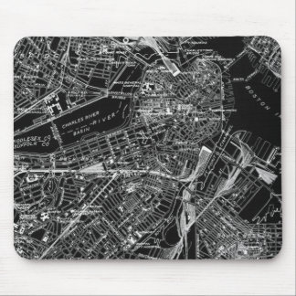 Vintage Boston Black and White Map Mouse Pad