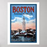 Vintage Boston Harbor Massachusetts Travel Poster Print