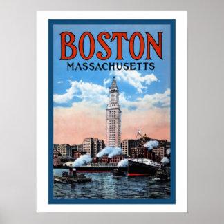 Vintage Boston Harbor Massachusetts Travel Poster