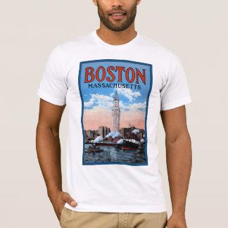 Vintage Boston Harbor Massachusetts Travel Poster T-Shirt