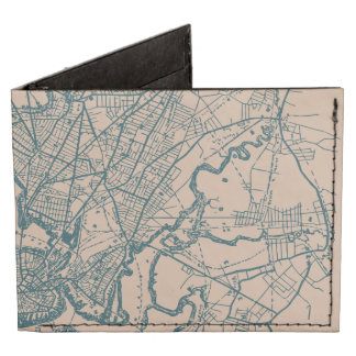 Vintage Boston Map Billfold Wallet