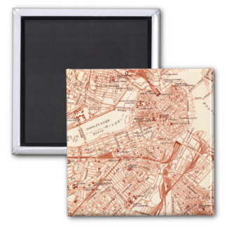 Vintage Boston Map 2 Inch Square Magnet