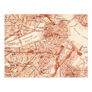 Vintage Boston Map Postcard