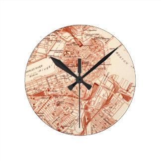 Vintage Boston Map Round Clock