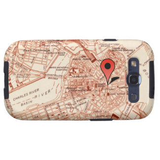 Vintage Boston Map with Location Marker Samsung Galaxy S3 Covers