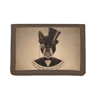 Vintage Boston Terrier  - The American Gentleman Trifold Wallet