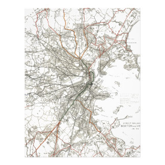 Vintage Boston Transit Line Map (1914) Letterhead