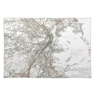 Vintage Boston Transit Line Map (1914) Cloth Placemat