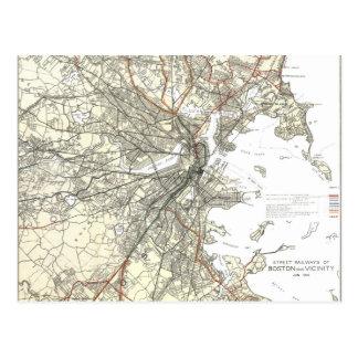 Vintage Boston Transit Line Map (1914) Postcard