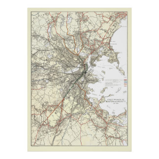 Vintage Boston Transit Line Map (1914) Poster