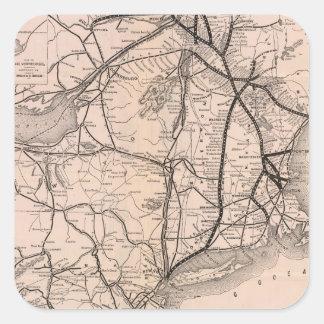 Vintage Boston y mapa del ferrocarril de Montreal Pegatina Cuadrada
