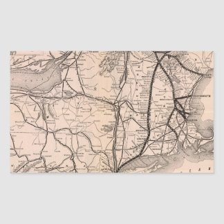 Vintage Boston y mapa del ferrocarril de Montreal Pegatina Rectangular