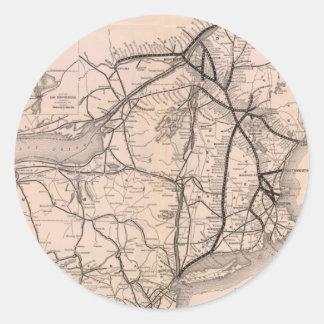 Vintage Boston y mapa del ferrocarril de Montreal Pegatina Redonda