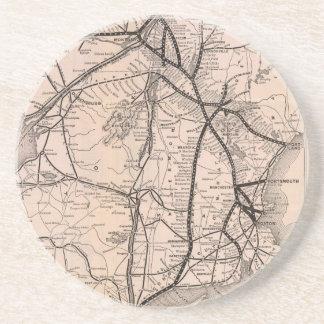 Vintage Boston y mapa del ferrocarril de Montreal  Posavasos Diseño