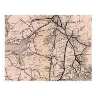 Vintage Boston y mapa del ferrocarril de Montreal Postal