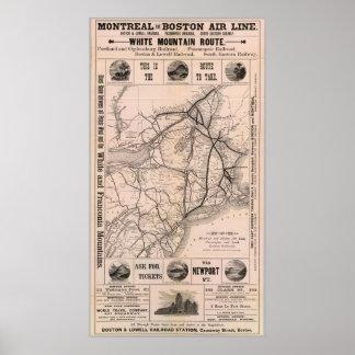 Vintage Boston y mapa del ferrocarril de Montreal  Póster
