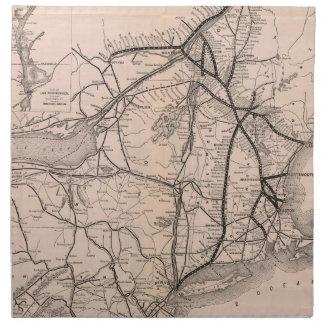 Vintage Boston y mapa del ferrocarril de Montreal  Servilleta De Papel