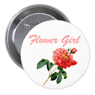 vintage botanical art red rose flower girl button