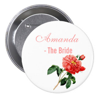 vintage botanical art red rose flowers bride button