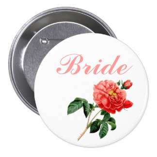 vintage botanical art red rose flowers bride pinback button