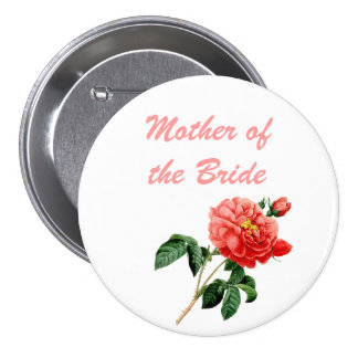 vintage botanical art red rose flowers mother pinback button