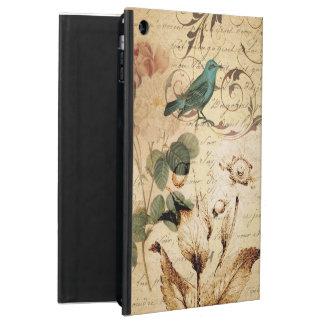 vintage botanical art rose teal bird floral girly iPad air cases