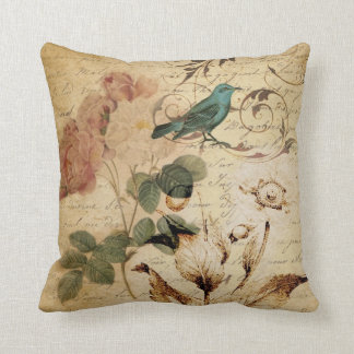 vintage botanical art rose teal bird floral girly throw pillow