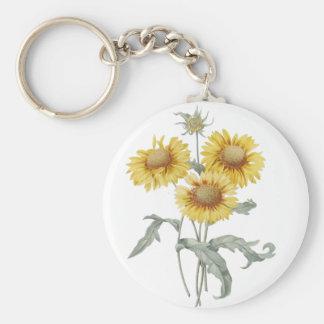 Vintage botanical art sunflowers. P.J. Redoute. Keychain