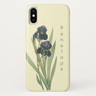 Vintage Botanical Blue Iris Flowers with Name Case-Mate iPhone Case