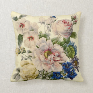 Vintage Botanical Bouquet of Mixed Flowers Pillows