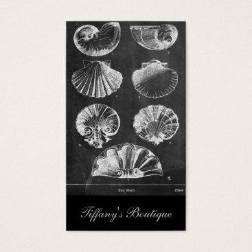 Beach Themed vintage botanical chalkboard beach sea shells business card