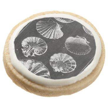 Beach Themed vintage botanical chalkboard beach sea shells round shortbread cookie