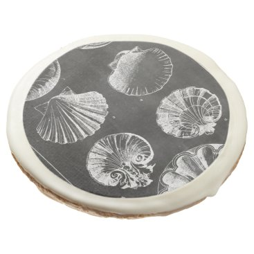 Beach Themed vintage botanical chalkboard beach sea shells sugar cookie