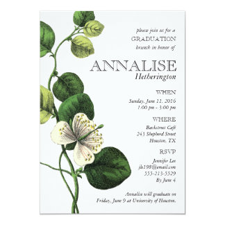 Vintage Botanical Chic Grad Party Invitations