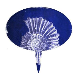 vintage botanical Coastal Blue White seashell Cake Topper