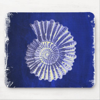 vintage botanical Coastal Blue White seashell Mouse Pad