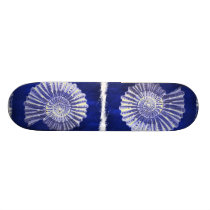 vintage botanical Coastal Blue White seashell Skateboard