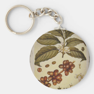 Vintage Botanical Coffee Picture Keychains