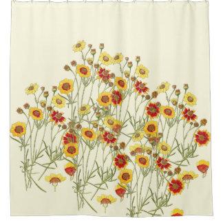 vintage botanical coreopsis flowers floral shower curtain
