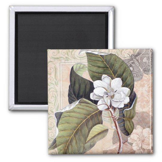 Vintage Botanical Elegant Southern Magnolia Magnet
