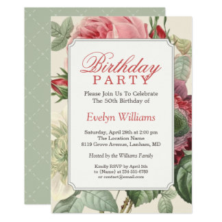 Vintage Botanical Floral Adult Birthday Party Card