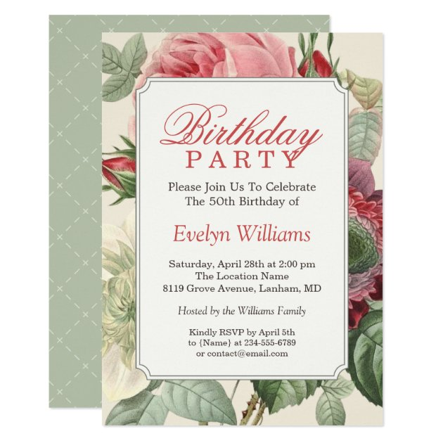 Most popular 80th birthday party invitations custominvitations4u vintage botanical floral adult birthday party card filmwisefo Image collections