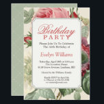 """Vintage Botanical Floral Adult Birthday Party Invitation<br><div class=""""desc"""">================= ABOUT THIS DESIGN ================= Vintage Botanical Floral Elegant Adult Birthday Party Invitation. (1) For further customization, please click the """"Customize"""" button and use our design tool to modify this template. All text style, colors, sizes can be modified to fit your needs. (2) If you prefer thicker papers, you may...</div>"""