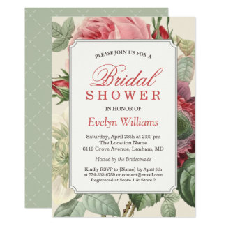 Vintage Botanical Floral Bridal Shower Invitation