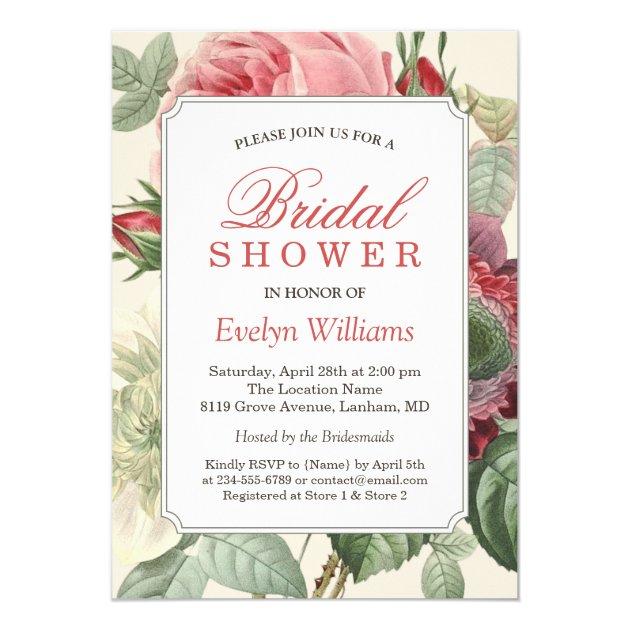 Vintage Botanical Floral Bridal Shower Invitation (back side)