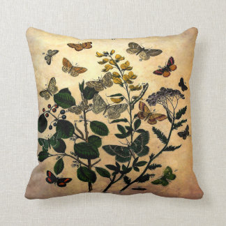 Vintage Botanical Floral Butterflies Rustic Aged Throw Pillow