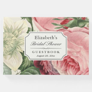 vintage botanical floral elegant bridal shower guest book
